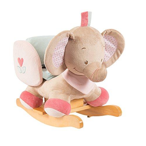 Nattou Schaukeltier ab 1 Jahr mit Gurt, Mädchen, rosa - Rose der Elefant
