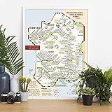 Carte des vins et leur cépages 'les stations Oenanthiques ®' AOC/AOP - A2 (60 x 40 cm)