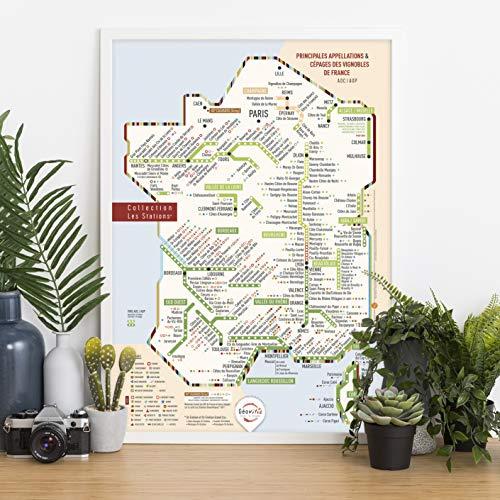 Mapa de vinos de Francia AOP/AOC 'Les Stations' original 40 x 60