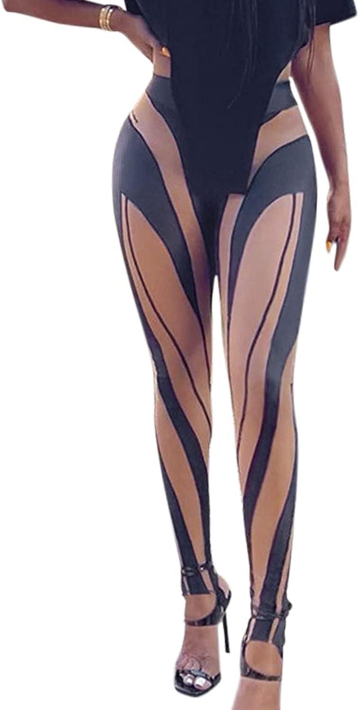 VWIWV Women's High Waist Foot Legging Stripe Patchwork Skinny Workout Gym Fitness Yoga Tights Pants