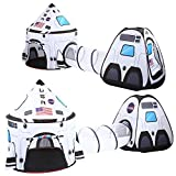 JOYIN White Rocket Ship Play Tent Pop up Play Tent with Tunnel and Playhouse Kids Indoor Outdoor Spaceship Tent Set