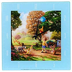 Mark Feldstein & Associates Winnie The Pooh Disney Kinkade Sky Blue 11 inch Glass Square Wall Clock
