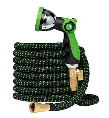 "Garden Hose Flexible Expandable Retractable - GreenFriendlyHome - No Kink Expanding Water Hose, Strongest Hose Fabric, Multi Latex Core, 3/4"" Solid Brass Fittings, Spray Nozzle (Black Green 75 FT)"