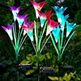Outdoor Solar Lights 3 Pack Lily Solar Flower Lights Multi Color Changing LED