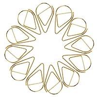 GENERISCH ペーパークリップ、可愛い水滴型クリップ ペーパークリップセット, ペーパークリップ ペーパークリップ かわいい しおり 金属 オフィス文具 学校の個人文書の整理および分類の専門作業のためのドロップ型のフォルダオフィスクリップ(100本入り)15*25mm (ゴールデン)
