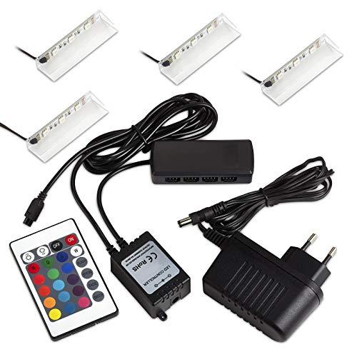 Set de 4 SO-TECH® RGB DEL/LED lampe pour vitres/vitrines incl. télécommande et multi fonction de changement de couleur (Classe d'énergie A++)