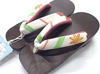 【ピドヒール】女性用桐下駄 レディース 23-24.5cm 白地に菊柄刺繍