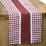 Letjolt Splicing Check Table Runner Thanksgiving Christmas Wedding Party Handmade British Style Family Dinner Table Runner, Wine Red 12x108 Inches