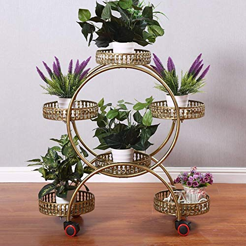 LNLJ Smeedijzeren Plant Pot Rack met Wielen, 4-Tier 6 Mand Display Stand Geschikt voor Patio's, Tuinen, Balkon