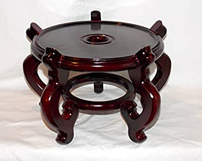 "NEW 9.5"" DIAMETER x 8"" TALL WOODEN ORIENTAL DARK CHERRY FISH BOWL PLANT STAND HOLDER QUALITY! (ON SALE NOW)"