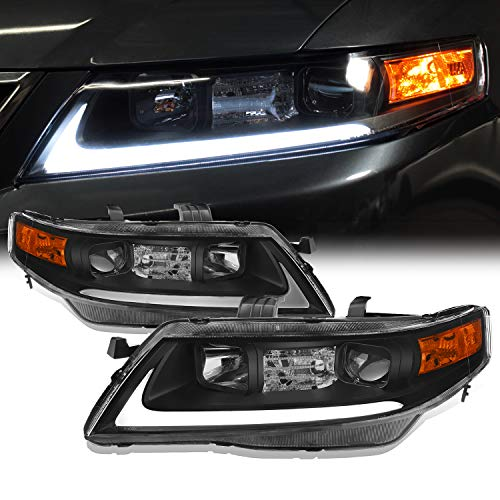 Fits 2004-2008 Acura TSX CL9 LED Tube Projector Front Black Headlights Headlamps Pair Replacement