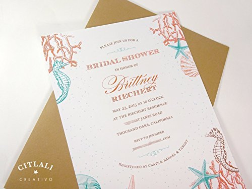 Beach Bridal Shower Invitation, Set of 10 Coral Reef, Ocean Sea Theme or Destination Wedding Invites