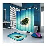 AmDxD Anti-Schimmel Polyester Duschvorhang und Badezimmer Teppich Ozean Herz Strand Baum Design Badezimmermatte Digitaldruck Bad Vorhang mit Duschvorhangringen für Badezimmer Badewanne Blau 180x180CM
