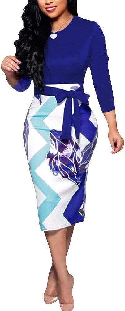ThusFar Body con Dress for Women Cute 3/4 Sleeves Back Zipper Pencil Dress XX-Large Blue - 3/4 Sleeve