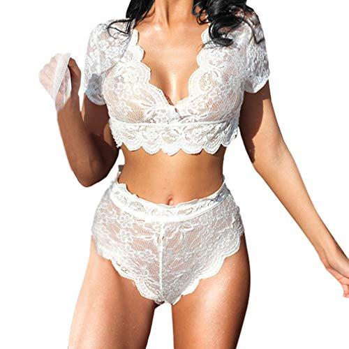 Maisheng Mujer Crop Tops y Bragas Lencería Conjunto de Ropa Interior Porno con Cuello en V Sexy Cordón Erotic Transparente Ropa de Dormir de Encaje Baby Doll Body Ropa Erótica