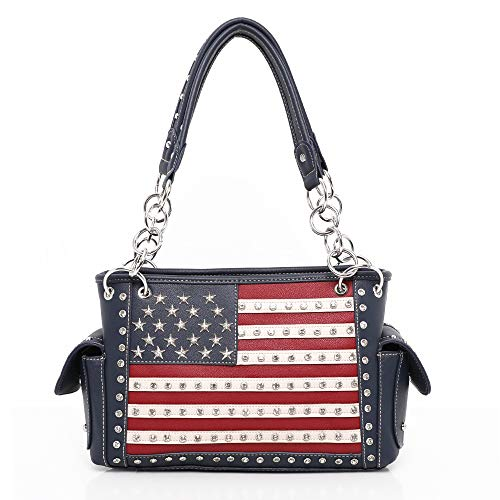 Montana West Patriotic Handbags for Women Concealed Carry Satchel Purse American Pride Flag Tote Shoulder Bags Navy CW-US04G-8085NY