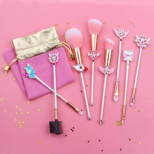 HZD Silver Cute Anime Cardcaptor Makeup Brushes Set Cosmetic Powder Foundation Eyeshadow Brush Kits Girl Gift,Silver White