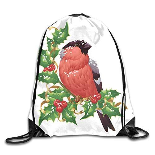 Zaino da palestra con coulisse, sagome di animali aviari colorati su rami di albero autunnale, zaino per scuola, sport, viaggi, donne, bambini, regalo di compleanno Multicolore 2 Taglia unica