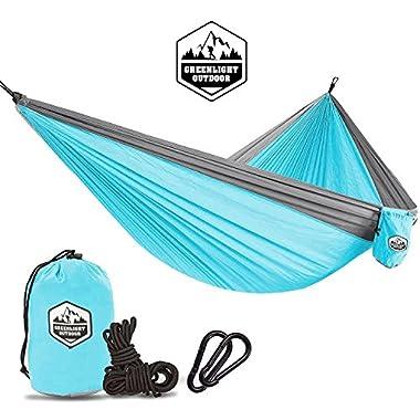 Greenlight Outdoor Camping Hammock - Lightweight Nylon Portable Hammock, Best Parachute Hammock For Backpacking, Camping, Travel, Beach, Yard.