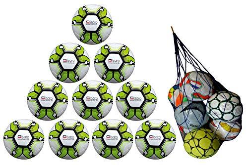 Lisaro 10 Fußbälle / 10er Ballpaket Soccerlite Gr. 5 | 290g + Gratis Ball-Netz | Top-Jugend-Ball