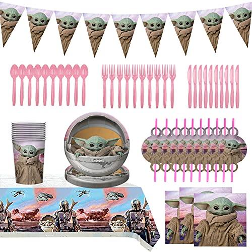BKJJ Yoda Cumpleaños Vajilla Decoraciones Vajilla de Fiesta TemÁTica de Yoda Yoda Plato Taza Servilleta Tenedor Banderín Decoraciones para Cumpleaños
