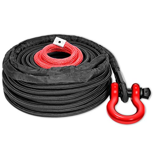 """ORCISH Synthetic Winch Rope 3/8"""" x 100ft 23809lbs Dyneema Winch Cable Line with Hook and Sleeve Protection Car Tow Recovery Cable for 4WD Off Road Vehicle Truck SUV Jeep"""