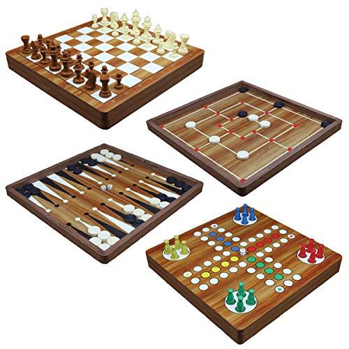 PrimoLiving Holz Spielesammlung 5-in-1 Backgammon, Schach, Dame, Mühle