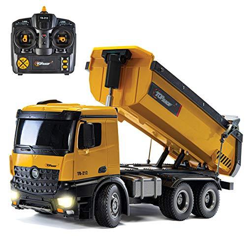 Top Race Camión volquete de construcción de Control Remoto, Juguete de camión volquete RC, vehículo de Juguete de construcción, Escala de construcción de Metal Pesado y plástico 1:14 Grande, 3 kg LBS