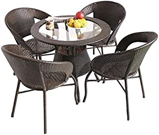 Unique360™ Wix Out Door Golden Four Seater Garden Patio Set 1+4 (4 Chairs and Table with Glass Set)