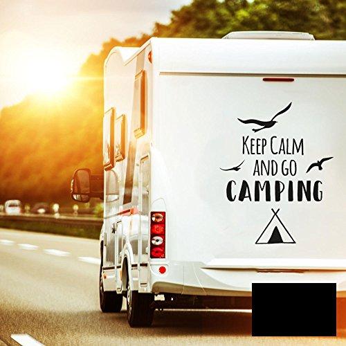 ilka parey wandtattoo-welt Autotattoo Heckscheibenaufkleber Wohnwagen Sticker Keep Calm and go Camping M2374 - ausgewählte Farbe: *schwarz* ausgewählte Größe: *S - 30cm hoch x 20cm breit