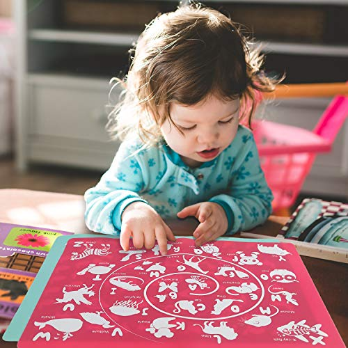 Silicone Placemats for Kids - Learning Alphabet Animals Number for Toddlers on Dining Table, Erase Washable Reusable Play Mats Set of 2