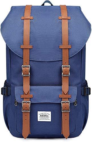 KAUKKO Sac à dos Avec Housse, Pour Aller Travailler, à l'école ou en Voyage, avec une Capacité Pour un Ordinateur Portable de 15 Pouces(Bleu-Nylon)