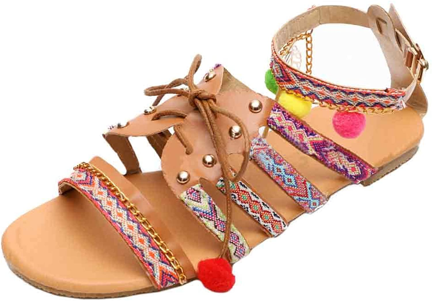 Huicai Women's Flat Sandals Open Toe Summer Bohemian National Style Slippers