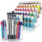 Paint Organizer & Paint Brush Holder (No Beads). Fits 2oz Acrylic Bottles, Oil Paint Tubes, Acrylic Paint Tubes, Miniatures & more. Brush Organizer has 3 Compartments.
