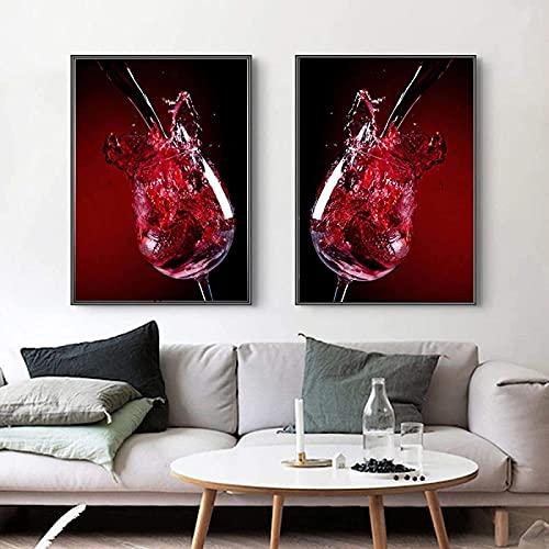 Carteles e impresiones Arte abstracto moderno en copa de vino tinto Imagen mural para sala de estar Decoración del hogar Póster impresiones de pared Art2 piezas 60x80cm sin marco
