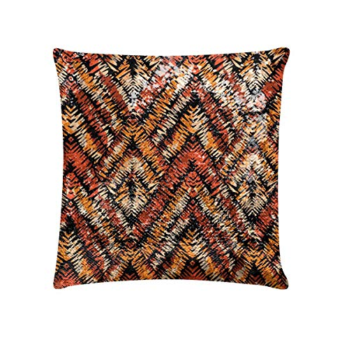 INTERESTPRINT Rustic Traditional Patch Sequins Pillow Cases - 18x18 inches Color Changes Magic Glitter Pillowcase