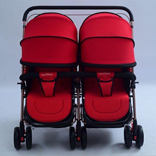 QQB &Carro Plegable Cochecito de bebé Asiento de Doble Asiento de IDA y Vuelta - acostado - luz - será Cochecito de Dos Asientos (Color : # 4)