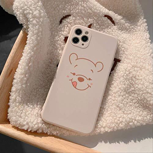 Caja del teléfono del Oso de la Historieta Coreana para el iPhone 12 Mini Pro MAX 11 Pro MAX XR X XS MAX 7 8 Plus SE2020 Cubierta Trasera Suave a Prueba de Golpes de TPU para iPhoneXR6.1 01