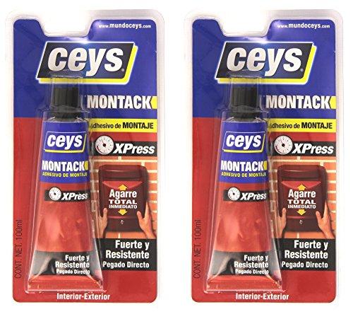 Ceys 507236. Pack 2 botes adhesivo montaje Montack Express 100ml cada uno