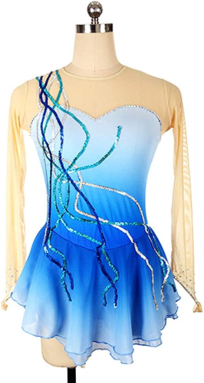 GZHGF Handmade Girls'Rhinestone Nylon Ice Skating Dress Sequin Quick Dry Rhythmic Gymnastics Dress Gradient bluee