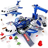 KIDWILL Car Toys Set with Transport Cargo Airplane, Large Theme Airplane, 4 Fire Fighting Vehicles, 11 Road Signs, Educational Toy Vehicle Play Set Girls for Toddler Boys Girls Age 3+