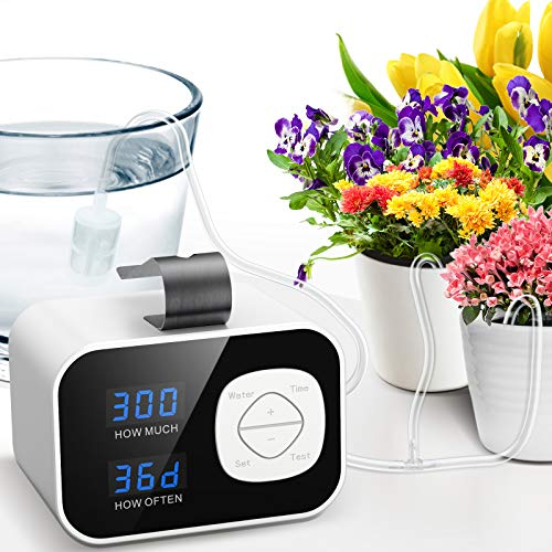 Kollea Automatic Watering System, Indoor Plant Self Watering System Automatic Drip Irrigation Kit with 60-Day Programmable Timer, LED Display & USB Power, Indoor Irrigation System for Potted Plants