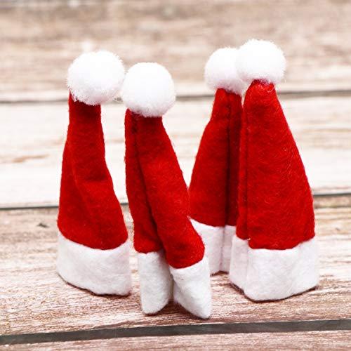 Amosfun 24 gorros de Navidad Lollipop Mini sombreros de Papá Noel Botellas Tapa para decoración de muñecas, manualidades, regalo de Navidad, decoración para el hogar