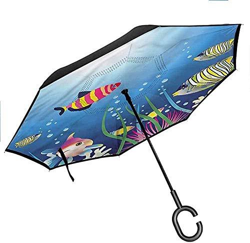 Dekor Aquarium Reverse Inverted Inside Out Regenschirm Fisch Korallen und Stein Arch Double Layer Canopy Anti-UV-Windschutzschirm -K1604