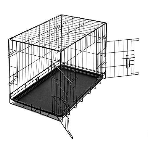 IHD Hundetransportboxen Metall, klappbar, 2 Türen mit Riegelbolzen, mit Kunststoffwanne L