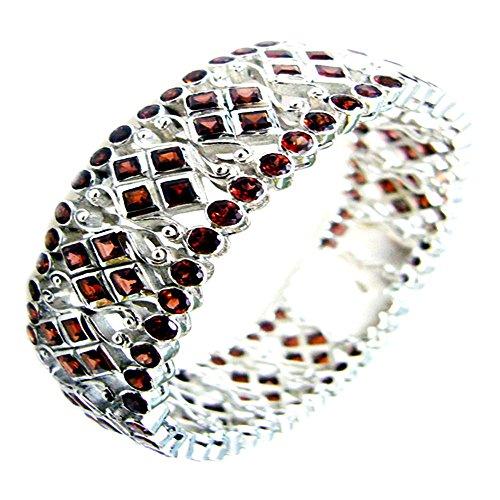 Jewelryonclick Echtes 925 Sterling Silber Granat Armreif Armbänder Cluster Style Schmuck Größe 6,5-8 Zoll
