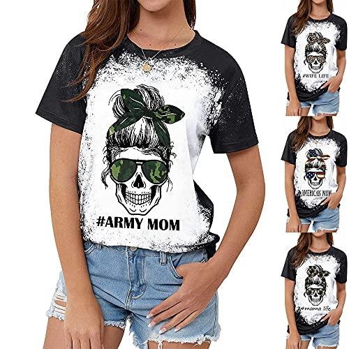 Tops Mujer Cómodos Cuello Redondo Empalme Tie Dye Camuflaje Gafas Esqueleto Estampado De Letras Manga Corta Mujer Camisa Casual Generoso Clásico Moda Exquisito Verano Mujer Shirt A-Camouflage L