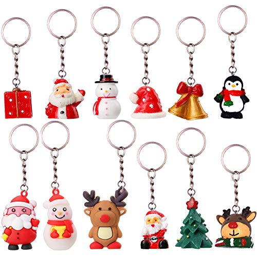 INTVN Santa Claus Cartoon Keychains [12 pcs], Bonhomme Neige...