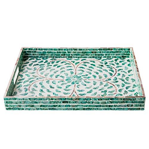 XMSIA Bandeja de Servir Decoración Placa del Desayuno Creativo Hecho a Mano Shell Bandeja Cuadrada Cocina Mesa de Inicio para la Decoración del Hogar (Color : Green, Size : 35x45x5cm)