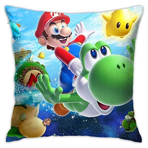 MZZhuBao Juego de funda de cojín decorativa para sofás, camas, sillas, 45 x 45 cm, diseño de la leyenda de Zelda Superhéroe Super Mario Smash Bros Ma